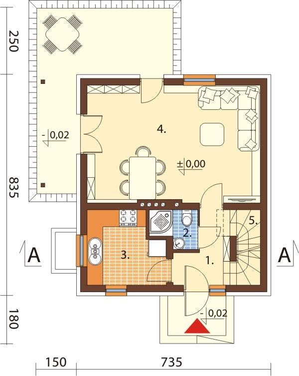 Projekt domu DM-6143 E - rzut