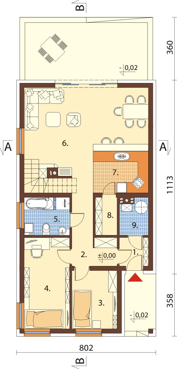 Projekt domu DM-6596 - rzut