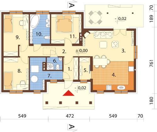 Projekt domu DM-6583 - rzut