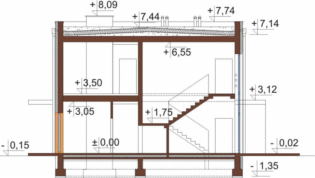 Projekt domu DM-6589 - przekrój