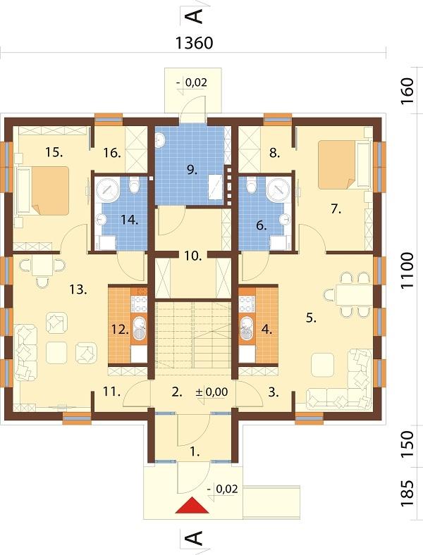 Projekt domu DM-6589 - rzut