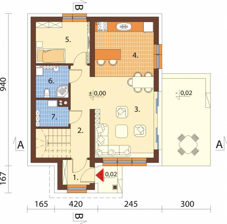 Projekt domu L-6592 - rzut