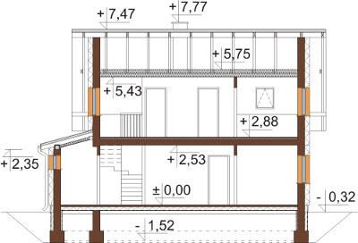 Projekt domu L-6592 - przekrój