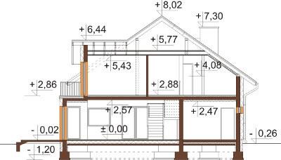 Projekt domu L-6553 - przekrój