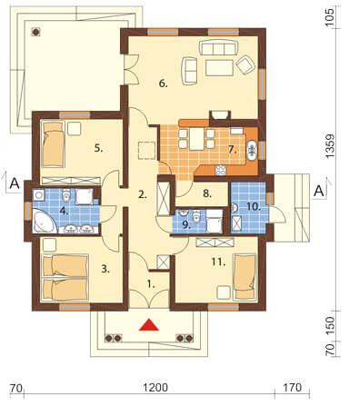 Projekt domu DM-6209 - rzut