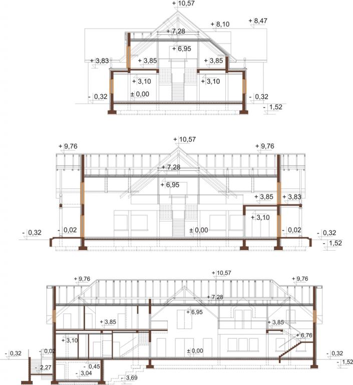Projekt LK-87 - przekrój