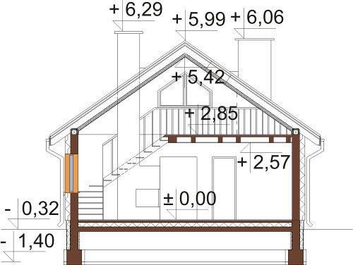 Projekt domu L-6596 - przekrój
