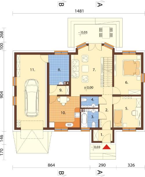 Projekt domu L-6565 - rzut