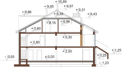 Projekt domu DM-6504 - przekrój