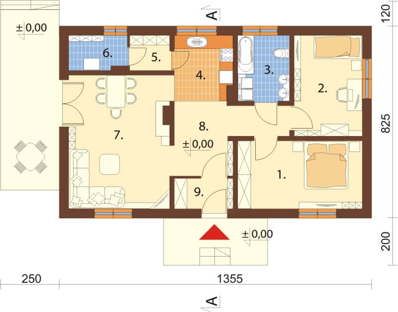 Projekt domu DM-5594 N - rzut
