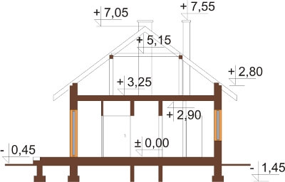 Projekt domu DM-5594 N - przekrój