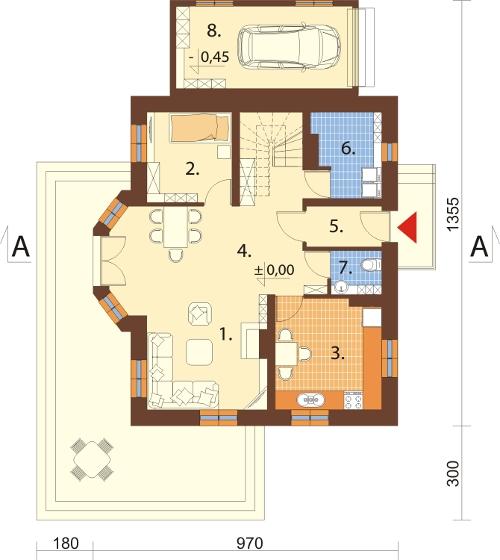 Projekt domu DM-6006 N - rzut