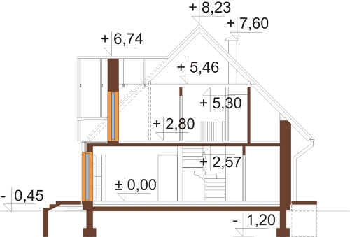 Projekt domu DM-6006 N - przekrój