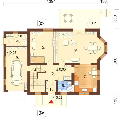 Projekt domu DM-6040 N - rzut