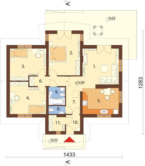 Projekt domu DM-6141 N - rzut