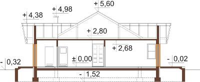 Projekt domu DM-6141 N - przekrój