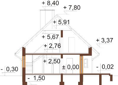 Projekt domu DM-6149 N - przekrój