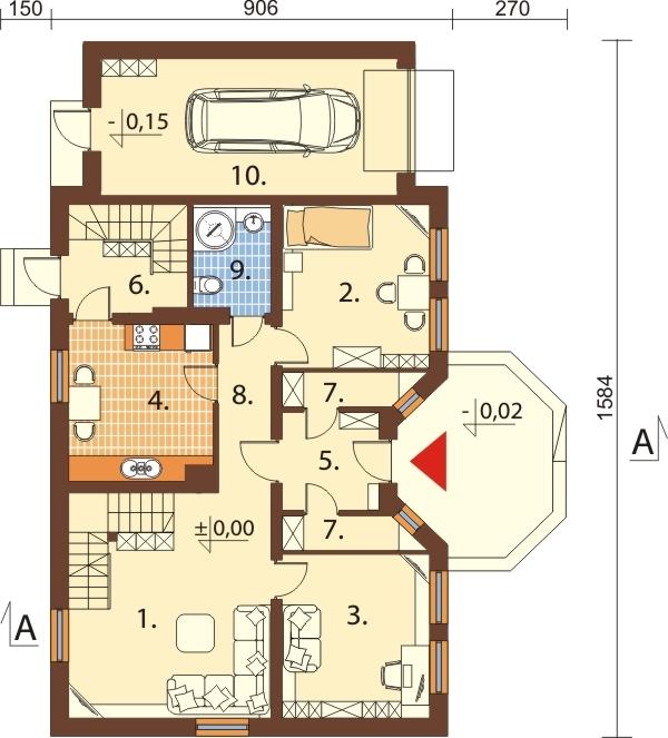 Projekt domu DM-6149 N - rzut