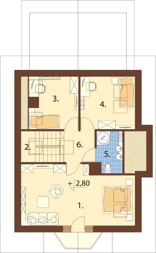 Projekt domu DM-6168 N - rzut