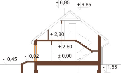 Projekt domu DM-6168 N - przekrój