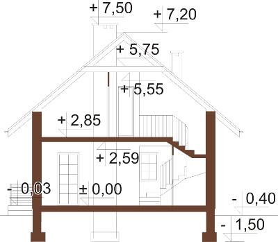 Projekt domu DM-6183 N - przekrój