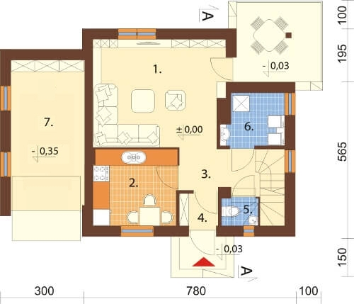 Projekt domu DM-6183 N - rzut