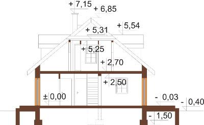 Projekt domu DM-6187 N - przekrój