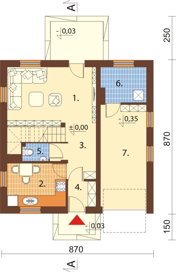 Projekt domu DM-6187 N - rzut