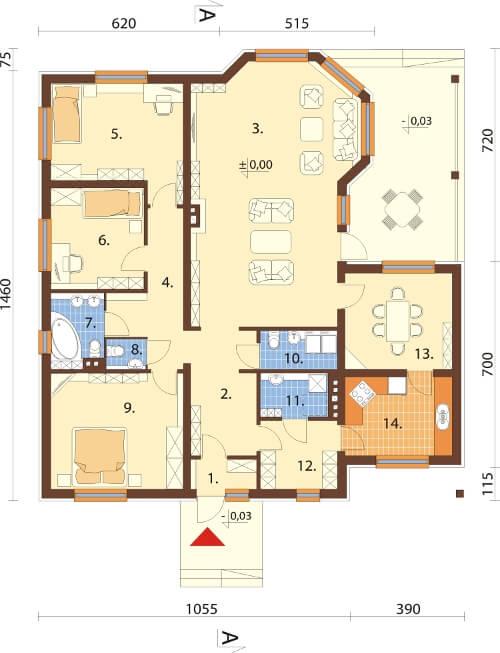 Projekt domu DM-6202 N - rzut