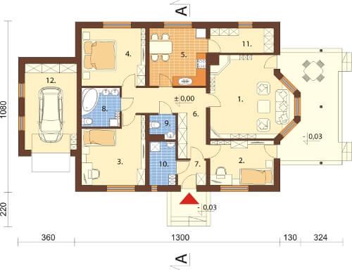 Projekt domu DM-6210 N - rzut