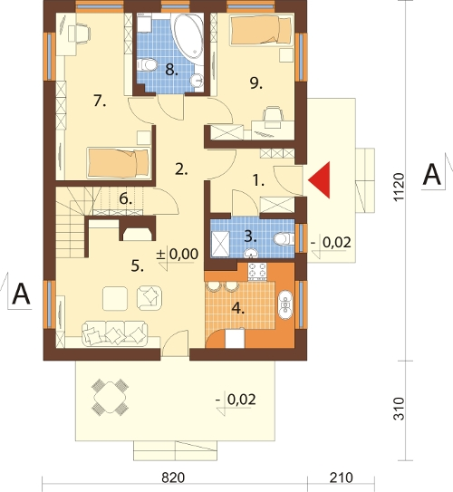 Projekt domu DM-6255 N - rzut