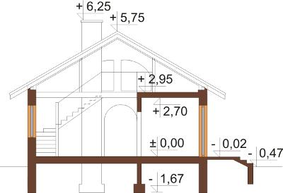Projekt domu DM-6255 N - przekrój