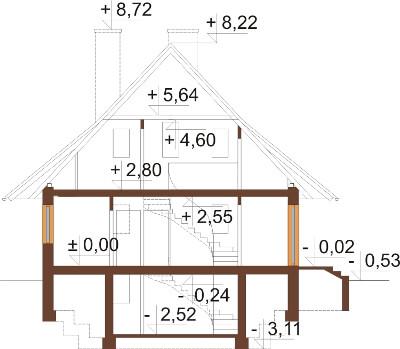 Projekt domu DM-6280 N - przekrój