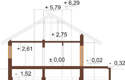 Projekt domu DM-6292 N - przekrój