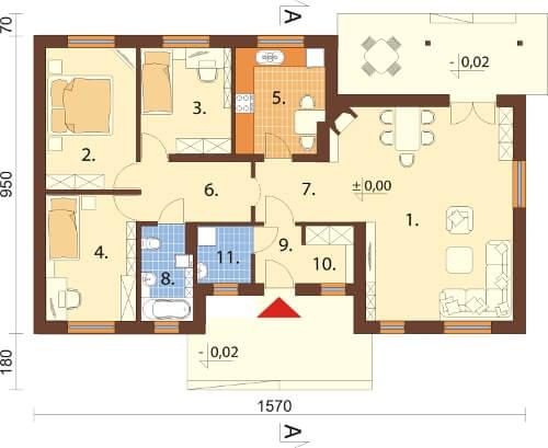 Projekt domu DM-6292 N - rzut