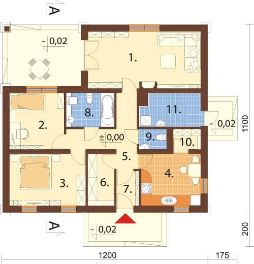Projekt domu DM-6300 N - rzut