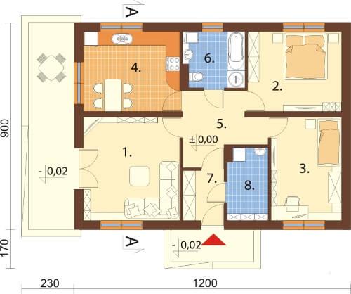 Projekt domu DM-6302 N - rzut
