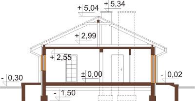 Projekt domu DM-6306 N - przekrój