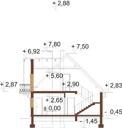 Projekt domu DM-6332 N - przekrój