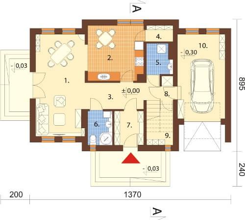 Projekt domu DM-6332 N - rzut