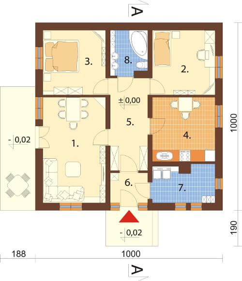 Projekt domu DM-6101 N - rzut