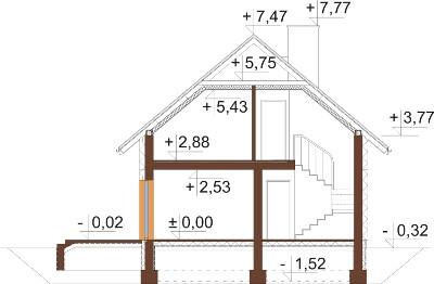 Projekt domu DM-6592 N - przekrój