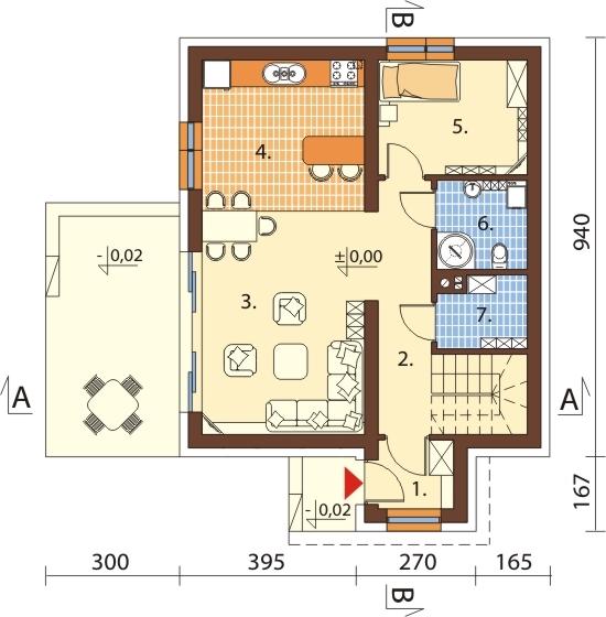 Projekt domu DM-6592 N - rzut