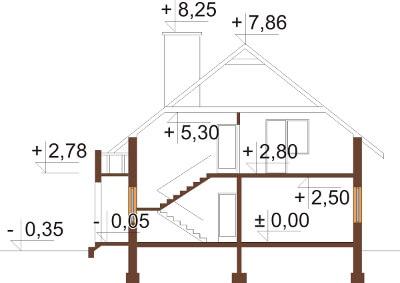 Projekt domu DM-6028 N - przekrój