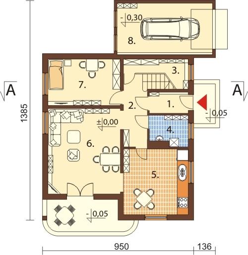 Projekt domu DM-6028 N - rzut