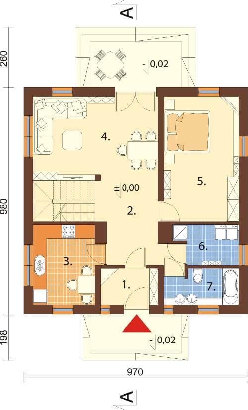 Projekt domu DM-6154 N - rzut