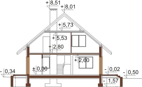 Projekt domu DM-6154 N - przekrój