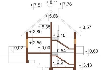 Projekt domu DM-6199 N - przekrój