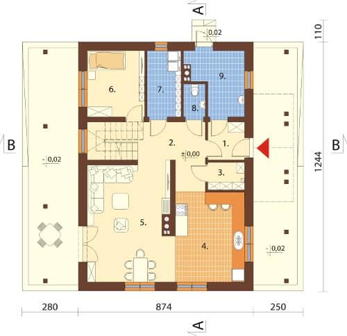 Projekt domu DM-6602 - rzut