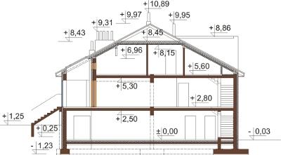 Projekt domu L-6504 - przekrój